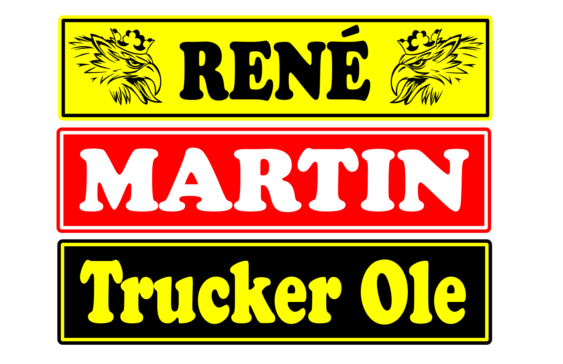 Chaufførskilt, navneskilte til lastbil, skilte med tekst, trucker skilte, Truckerskilt, X Chaufførskilt med bil logo