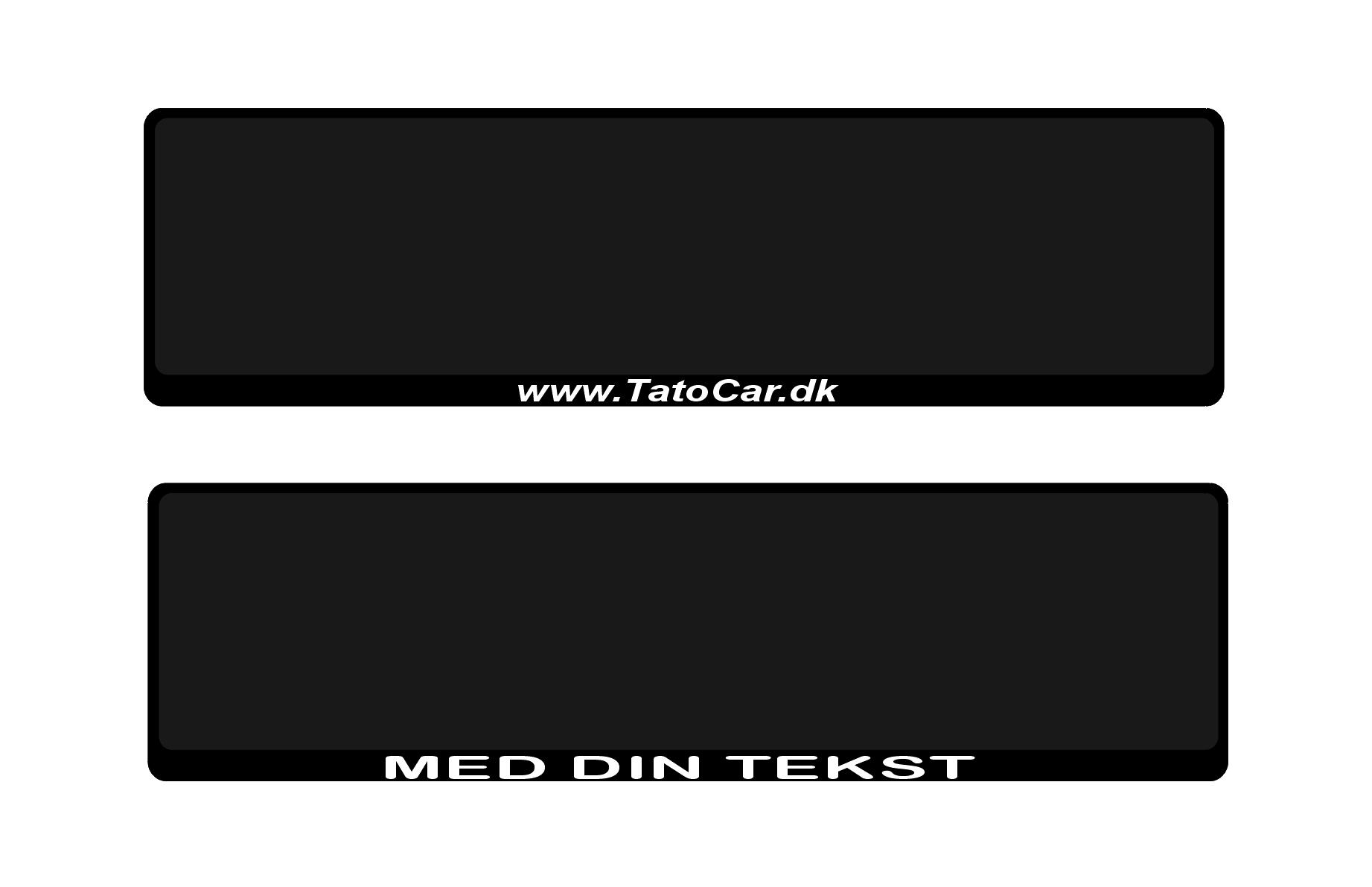 Nummerpladeramme med din tekst Passer til danske nummerplader Der medfølger sæt afstandsskiver Der er huller i rammen som gør monteringen til en leg.